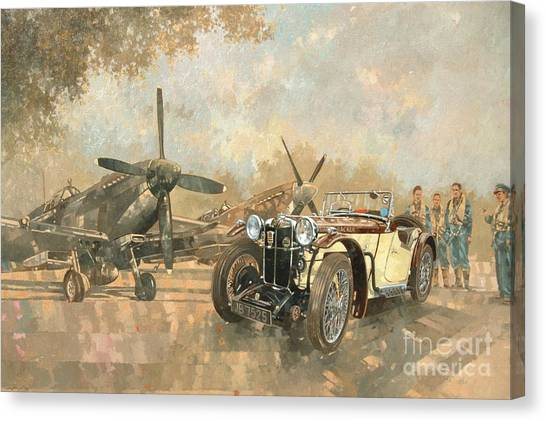 Car Canvas Print - Cream Cracker Mg 4 Spitfires  by Peter Miller