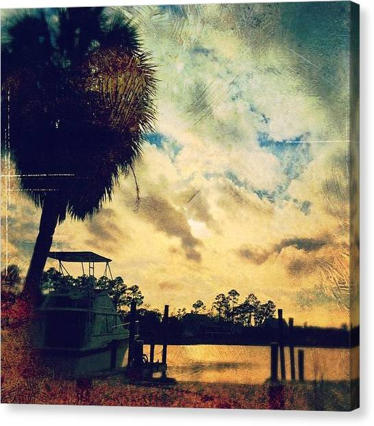 Palm Trees Sunsets Canvas Print - Created With  by Joan McCool