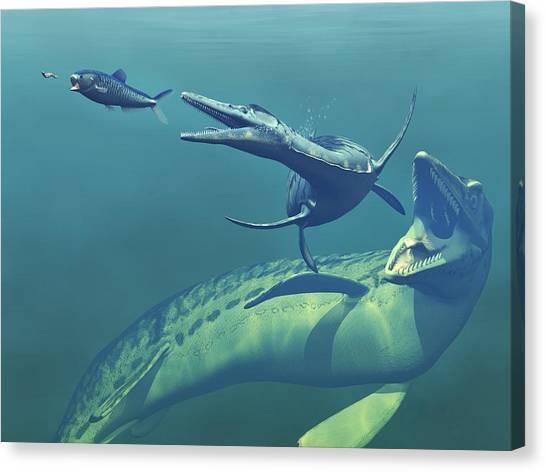 Western Interior Seaway Canvas Print   Cretaceous Marine Predators, Artwork  By Walter Myers