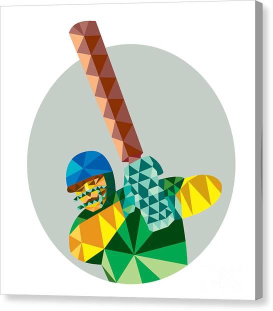 Cricket Players Canvas Print - Cricket Player Batsman Batting Low Polygon by Aloysius Patrimonio