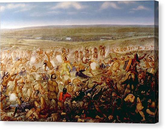 Jt History Canvas Print - Custers Last Stand, General George by Everett