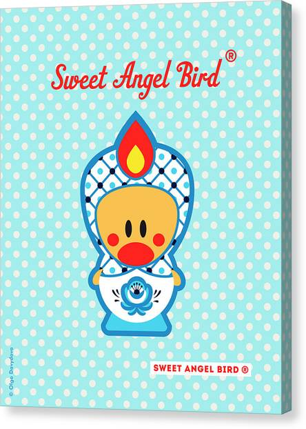 Cute Art - Blue Polka Dot Folk Art Sweet Angel Bird In A Nesting Doll Costume Wall Art Canvas Print