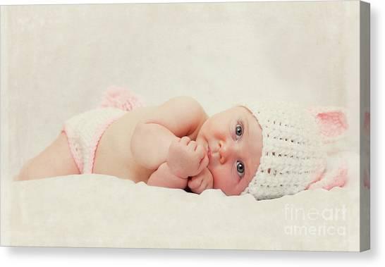 Cute Newborn Portrait Canvas Print by Gualtiero Boffi
