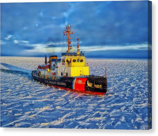 Coast Guard Canvas Print - Cutting Through The Ice On Lake Michigan by Daniel Michelson
