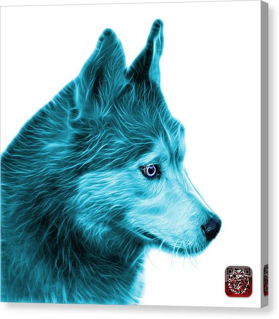 Canvas Print featuring the painting Cyan Siberian Husky Art - 6048 - Wb by James Ahn