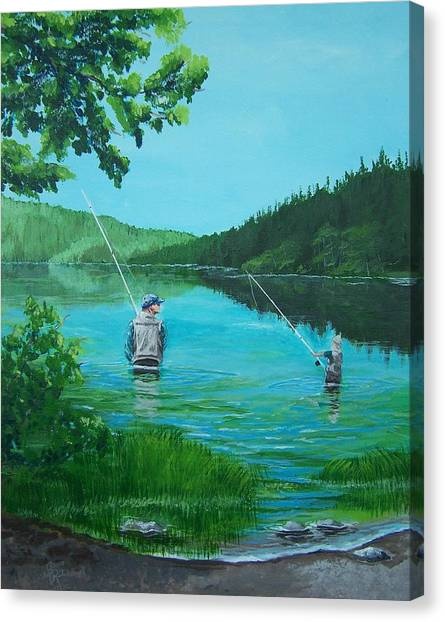 Dad And Son Fishing Canvas Print