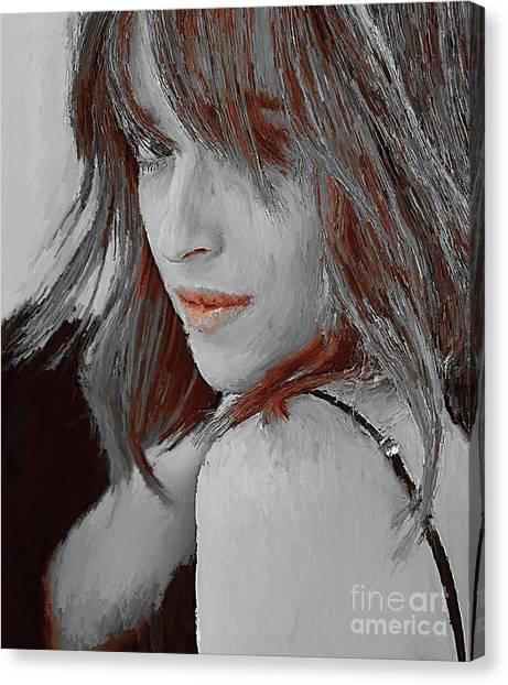 Dwayne Johnson Canvas Print - Dakota Johnson Actress by Gull G