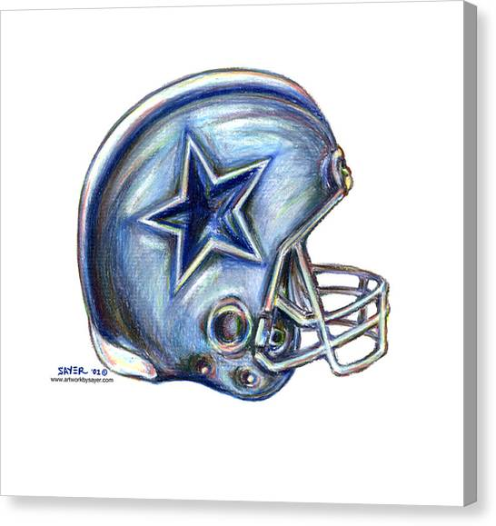 Football Canvas Print - Dallas Cowboys Helmet by James Sayer