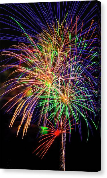 Pyrotechnics Canvas Print - Dazzling Fireworks by Garry Gay