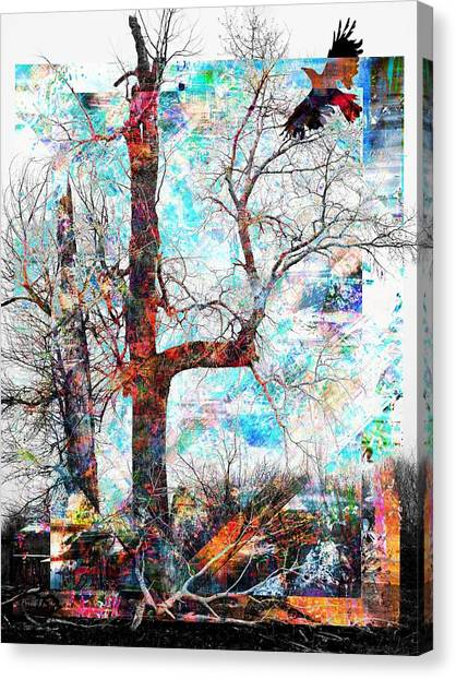 Canvas Print featuring the photograph Dead Tree And Crow by Dutch Bieber