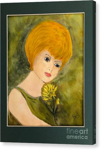 Canvas Print featuring the painting Debbie by Donald Paczynski