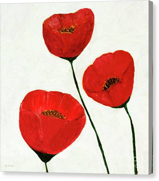 Canvas Print featuring the painting Decorative Poppies Acrylic Painting C62017 by Mas Art Studio