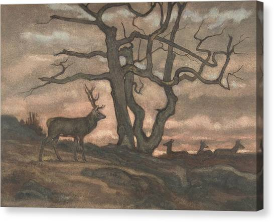Sculptors Canvas Print - Deer And Tree Against Sunset by Antoine-Louis Barye