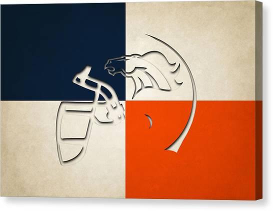 Denver Broncos Canvas Print - Denver Broncos Helmet by Joe Hamilton