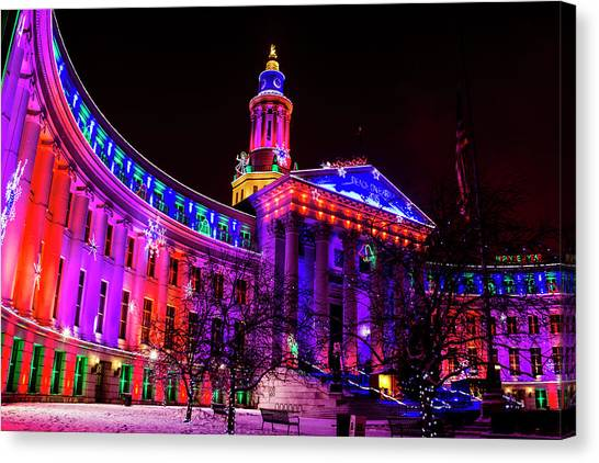 Denver City And County Building Holiday Lights Canvas Print
