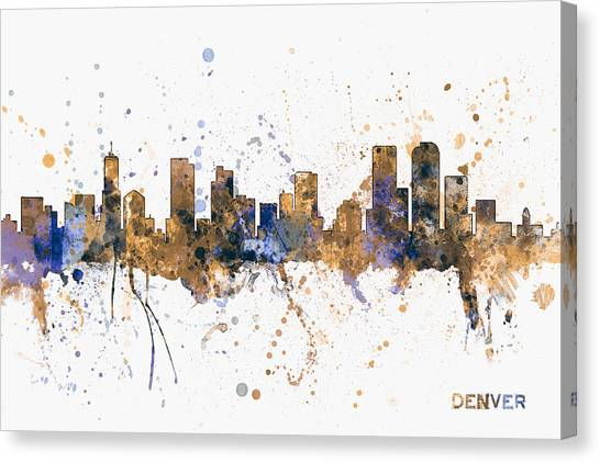 Denver Canvas Print - Denver Colorado Skyline Cityscape by Michael Tompsett