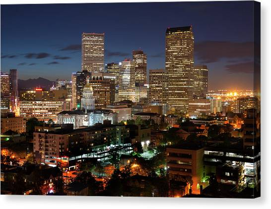 Denver Evening Skyline Canvas Print by Steve Mohlenkamp