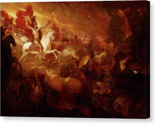 War Horse Canvas Print - Destruction Of The Beast And The False Prophet by Benjamin West