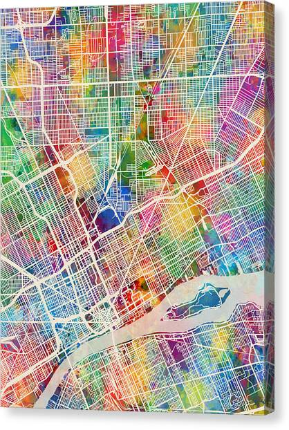 Detroit Canvas Print - Detroit Michigan City Map by Michael Tompsett
