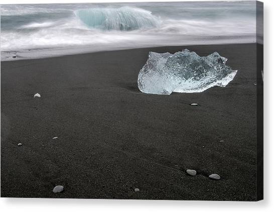 Canvas Print featuring the photograph Diamonds Floating In Beaches, Iceland by Pradeep Raja PRINTS