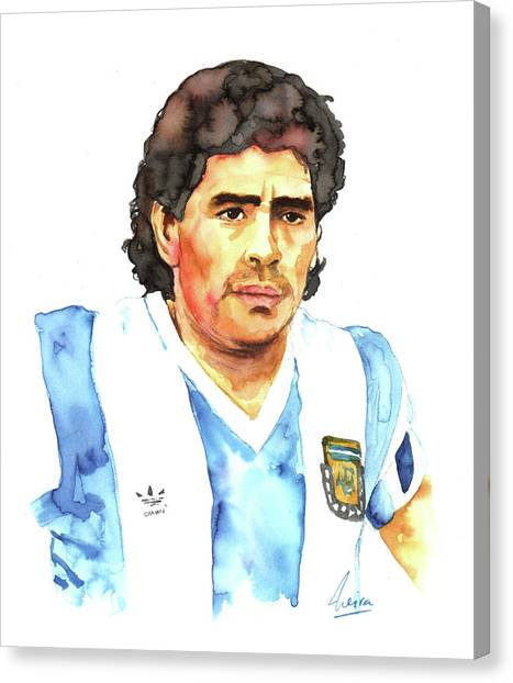 Diego Maradona Canvas Print - Diego Armando Maradona by Marcelo Neira