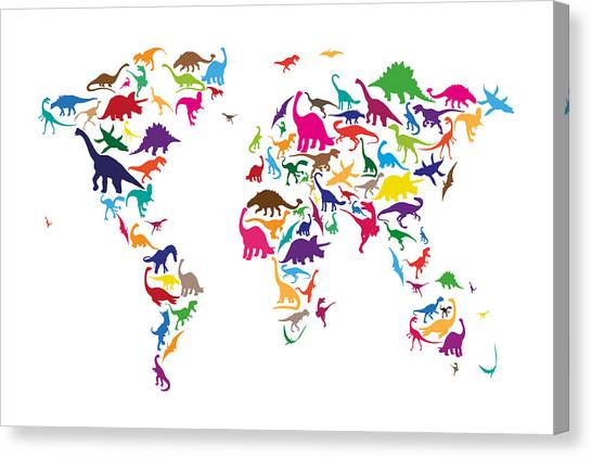 Velociraptor Canvas Print - Dinosaur Map Of The World Map by Michael Tompsett
