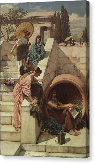 Pre-raphaelite Art Canvas Print - Diogenes by John William Waterhouse