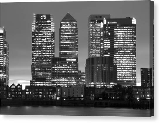 Docklands Canary Wharf Sunset Bw Canvas Print