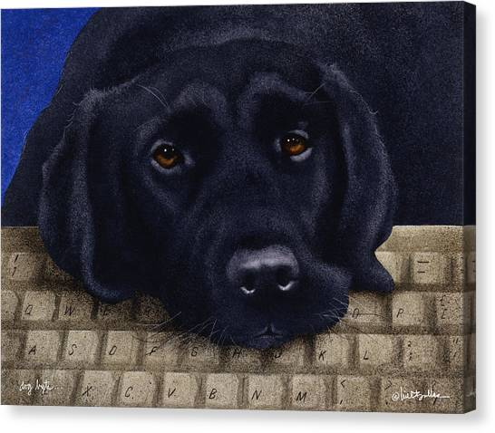 Keyboards Canvas Print - Dog Byte... by Will Bullas