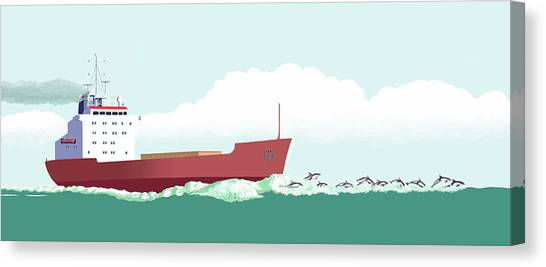 Flipper Canvas Print - Dolphin Dance by Gary Giacomelli