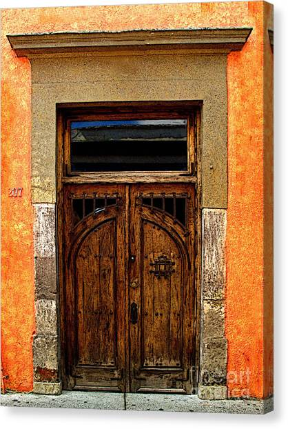 Door In Terracotta Canvas Print by Mexicolors Art Photography
