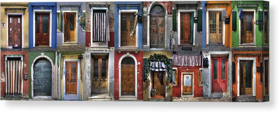 doors and windows of Burano - Venice Canvas Print