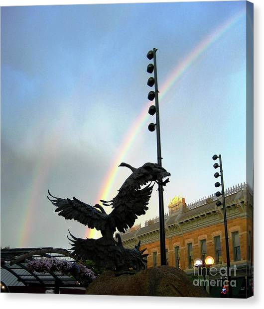 Double Rainbow Over Old Town Square Canvas Print