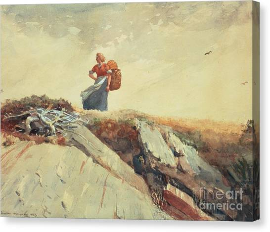 Pencil On Canvas Print - Down The Cliff by Winslow Homer
