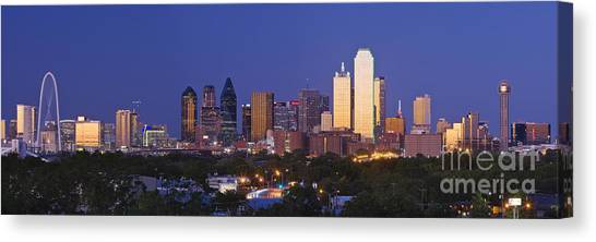 No-one Canvas Print - Downtown Dallas Skyline At Dusk by Jeremy Woodhouse
