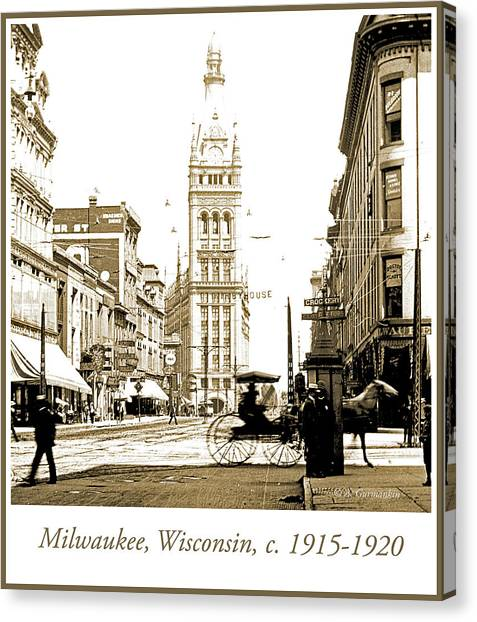 Downtown Milwaukee, C. 1915-1920, Vintage Photograph Canvas Print