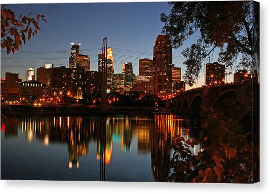Downtown Minneapolis At Night Canvas Print