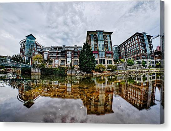 Downtown Of Greenville South Carolina Around Falls Park Canvas Print