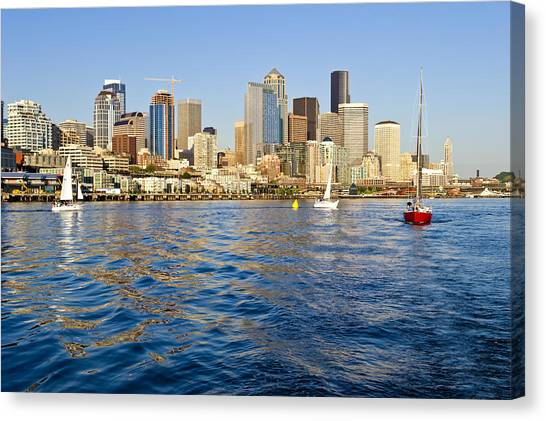 Downtown Seattle Sailing Canvas Print by Tom Dowd