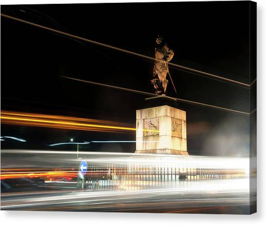 Drake's Statue Traffic Trails Iv Canvas Print