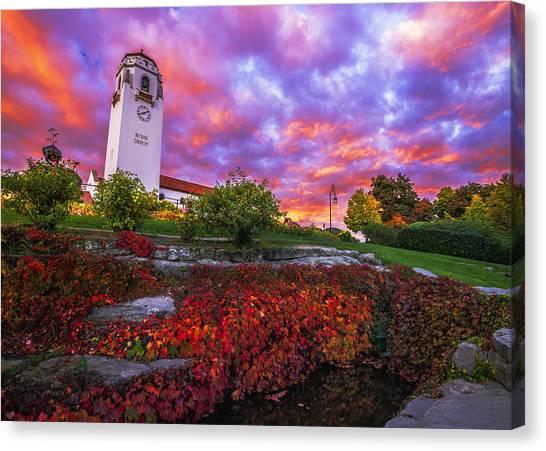Unique View Canvas Print - Dramatic Autumn Sunrise At Boise Depot In Boise Idaho by Vishwanath Bhat