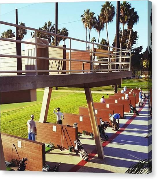 Golfers Canvas Print - #drivingrange At #ranchoparkgolfcourse by Robert Ceccon