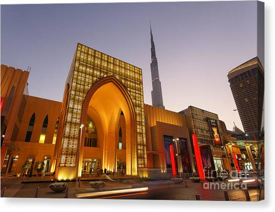Canvas Print featuring the photograph Dubai Burj Khalifa by Juergen Held