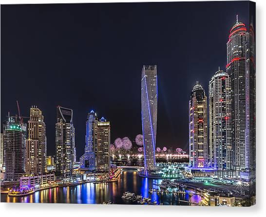 Fireworks Canvas Print - Dubai Marina by Vinaya Mohan