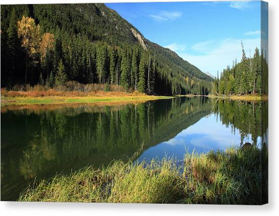 Duffey Lake Reflection In Autumn Canvas Print by Pierre Leclerc Photography