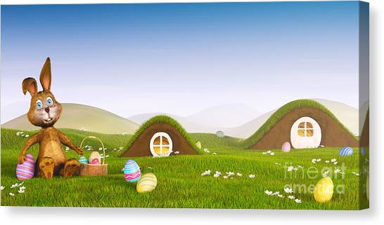 Easter Baskets Canvas Print - Easter Bunny With A Basket And Easter Eggs by Sara Winter