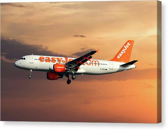 Airlines Canvas Print - Easyjet Airbus A320-214 by Smart Aviation