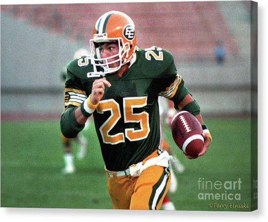 Edmonton Eskimos Football - Tom Richards - 1988 Canvas Print