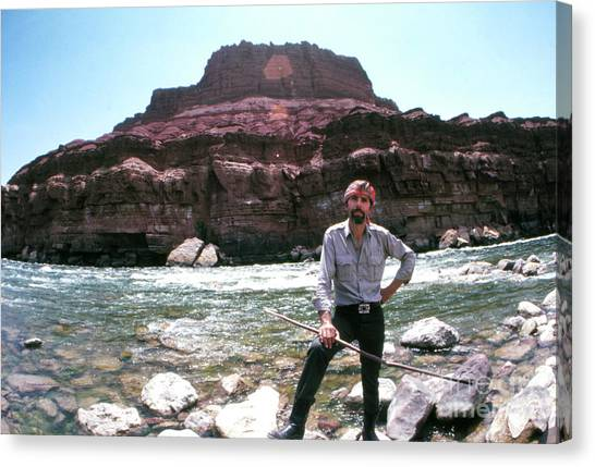 Novelist Canvas Print - Edward Abbey By The Colorado River by The Harrington Collection