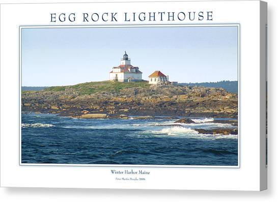 Egg Rock Island Lighthouse Canvas Print by Peter Muzyka